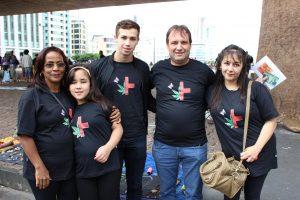 Família de Clárian na Marcha da Maconha em São Paulo.
